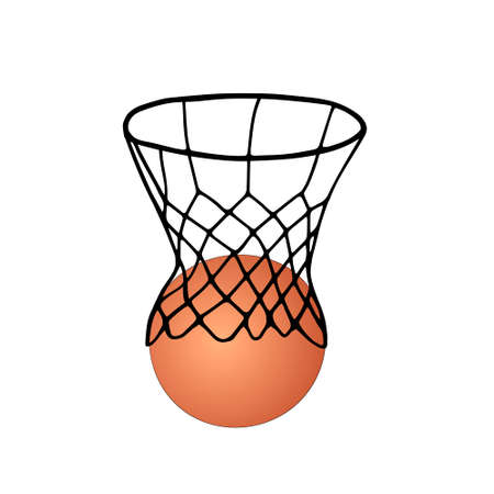 Beautiful hand-drawn black vector illustration of basketball game with an orange ball isolated on a white background