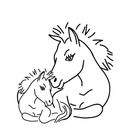 A Black outline hand drawing vector illustration of a horse and a baby horse lying on a grass isolated on a white background