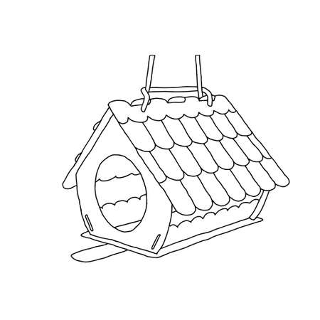 A Black hand drawn outline vector illustration of A birdhouse or squirrel house from new boards in the forest isolated on a white background.