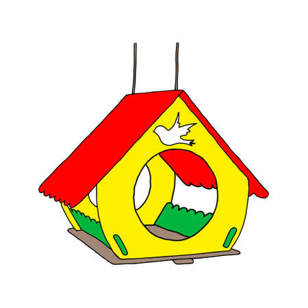 A colored hand drawn outline vector illustration of A birdhouse or squirrel house from new boards in the forest isolated on a white background.