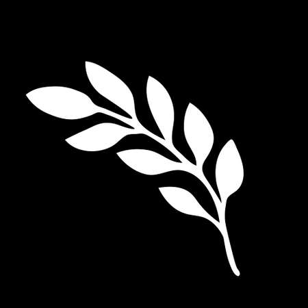 An Illustration of a white branch with leaves isolated on a black background