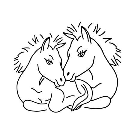 A Black outline hand drawing vector illustration of pair of horses lying on a grass isolated on a white background Vettoriali