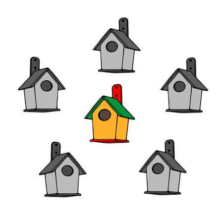 The Colored and gray hand drawn outline vector illustration of A group of birdhouses from new boards on a white background