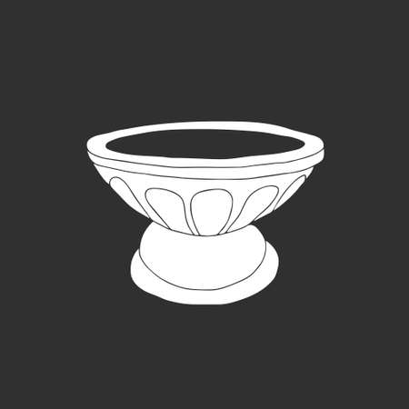 A White Vector illustration of the marble flower vase for flowers isolated on a gray background