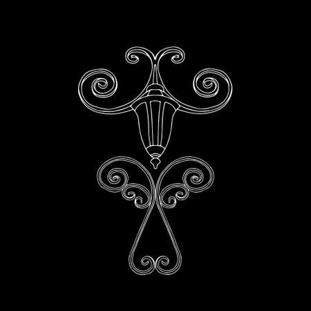 A Vector outline illustration of a white burning lamp is on a black background at night