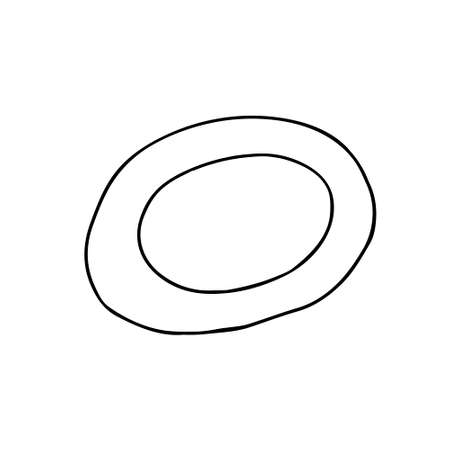 Black and white hand drawing outline vector illustration of a plate isolated on a white background