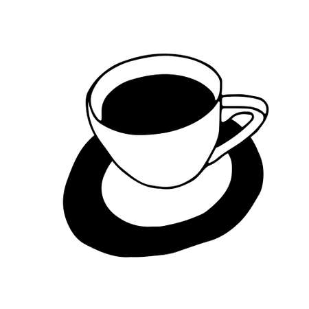Black Hand drawing outline vector illustration of a cup of hot coffee or tea with a plate isolated on a white background Vettoriali