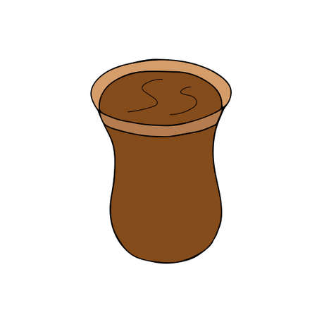 Brown hand drawing vector illustration of a turkish glass of hot tea isolated on a white background