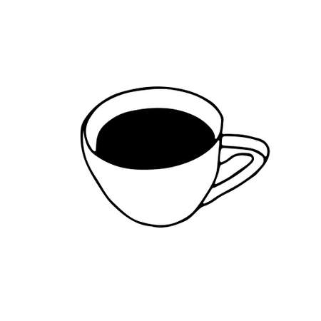 Black Hand drawing outline vector illustration of a cup of hot coffee or tea isolated on a white background