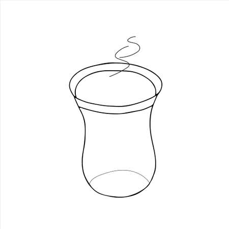 Black hand drawing vector illustration of a turkish glass of hot tea isolated on a white background