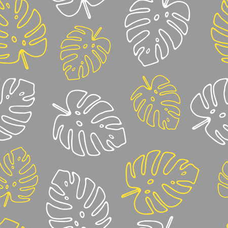 Illustration of yellow and white leaves monstera isolated on a gray background. Seamless pattern