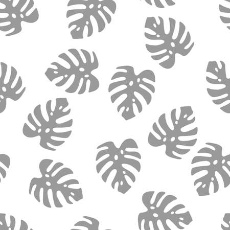Illustration of gray leaves monstera isolated on a white background. Seamless pattern Vettoriali