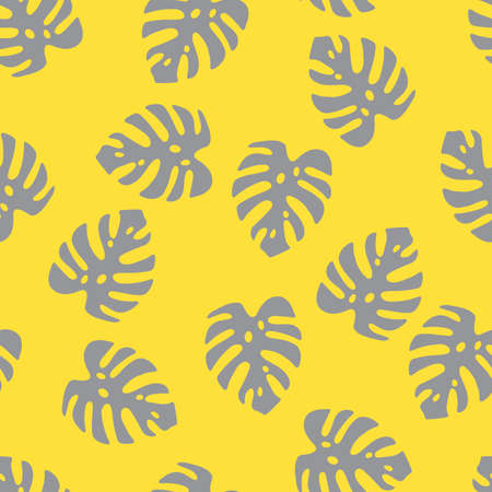An Illustration of gray leaves monstera isolated on a yellow background. Seamless pattern Vettoriali