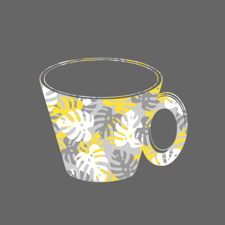 A Vector illustration of a cup for hot tea or coffee with monstera leaves pattern on a gray background Vettoriali