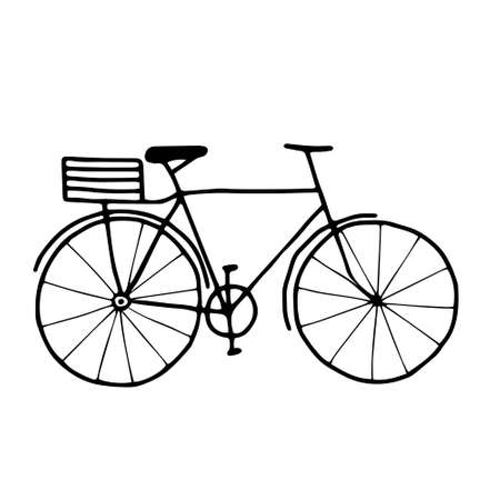 A Beautiful hand-drawn black vector illustration of an old adult cycle isolated on a white background