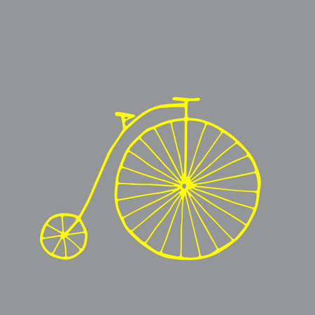 A Beautiful hand-drawn yellow vector illustration of an old adult cycle isolated on a gray background