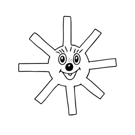 A Vector black outline illustration of the fun sun isolated on a white background