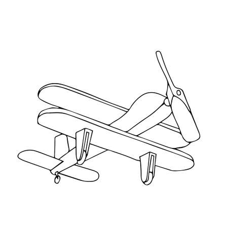 A Beautiful hand-drawn black vector illustration of toy wooden plane isolated on a white background for coloring book for children