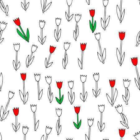 A Black Vector illustration of a group of tulip flowers with leaves isolated on a white background. Seamless pattern
