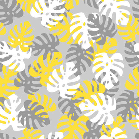 An Illustration of yellow white and gray leaves monstera. Seamless pattern