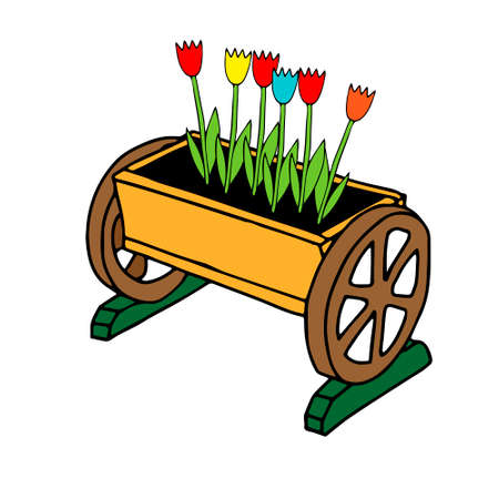 A Hand drawn outline colored vector illustration of a beautiful wooden truck with tulip flowers isolated on a white background Vettoriali