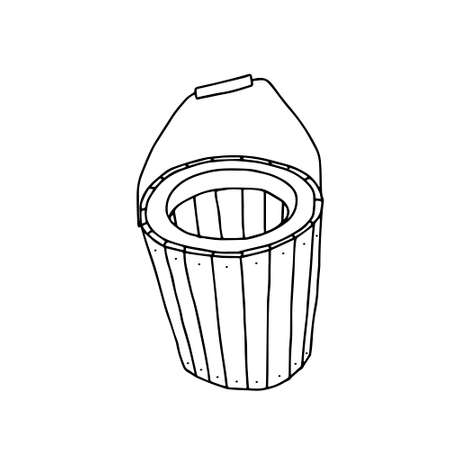 A Hand drawn outline black vector illustration of a beautiful wooden basket isolated on a white background Vettoriali