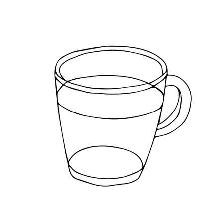 A Black hand drawn illustration of a glass transparent cup for hot tea or coffee isolated on a white background
