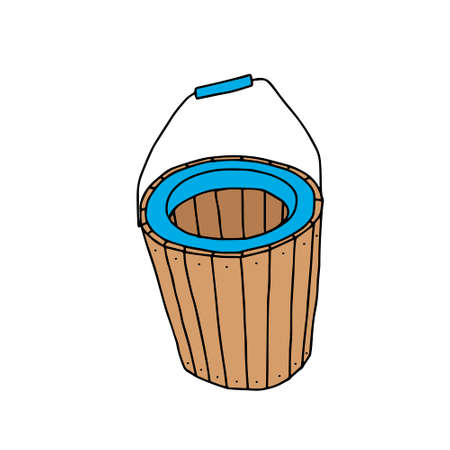 A Hand drawn outline brown vector illustration of a beautiful wooden basket isolated on a white background