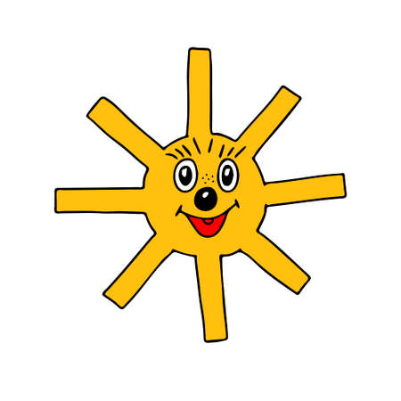 A Vector orange outline illustration of the fun sun isolated on a white background Vettoriali