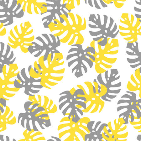 An Illustration of yellow and gray leaves monstera isolated on a white background. Seamless pattern