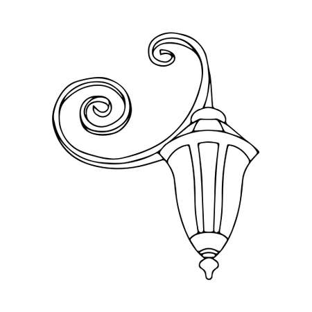 A Vector outline illustration of a black burning lamp is on a white background