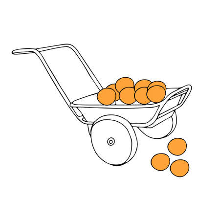 A Hand drawn outline black vector illustration of a beautiful metal truck with oranges isolated on a white background