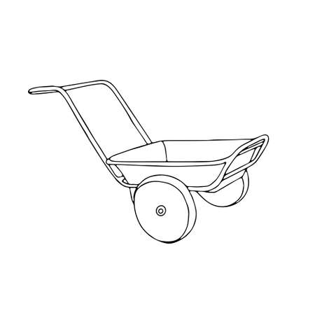 A Hand drawn outline black vector illustration of a beautiful metal truck with handles for gardening isolated on a white background