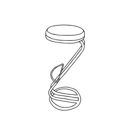 A Black Vector outline illustration of a backless bar stool isolated on a white background
