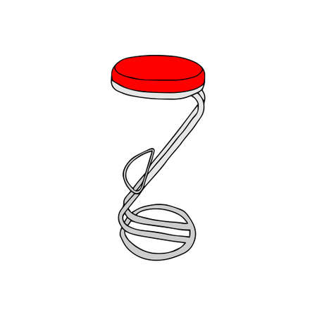 A Red and gray Vector outline illustration of a backless bar stool isolated on a white background
