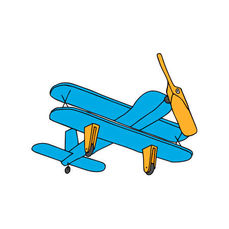 A Beautiful hand-drawn blue vector illustration of toy wooden plane isolated on a white background
