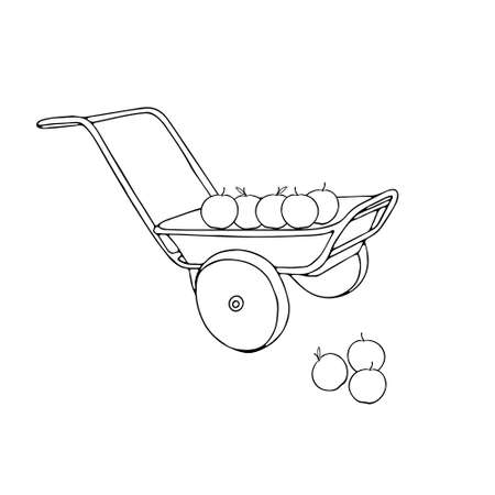 A Hand drawn outline black vector illustration of a beautiful metal truck with apples isolated on a white background Vettoriali