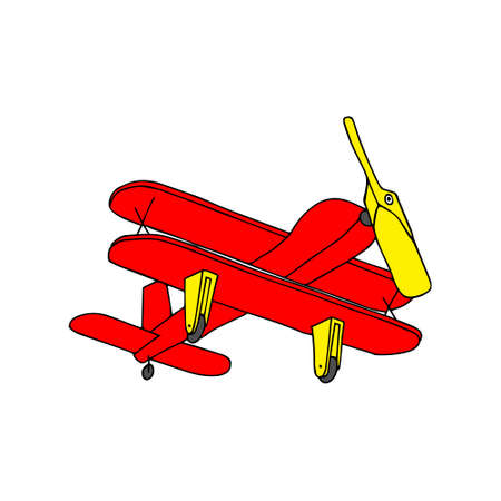 A Beautiful hand-drawn red vector illustration of toy wooden plane isolated on a white background