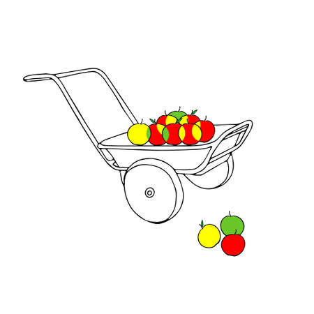 A Hand drawn outline black vector illustration of a beautiful metal truck with colored apples isolated on a white background. Red green yellow
