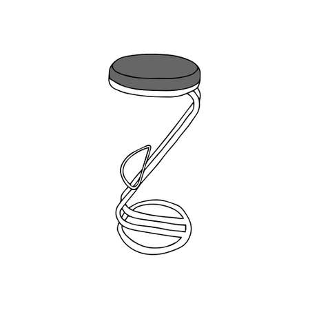 A Gray Vector outline illustration of a backless bar stool isolated on a white background