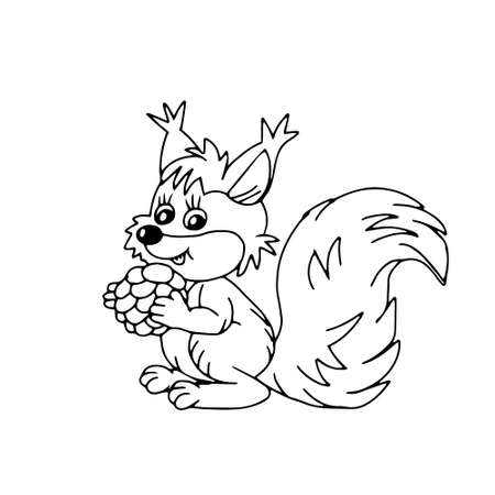 A Hand drawn black vector illustration of a beautiful young squirrel with a big cone and a long fluffy tail isolated on a white background