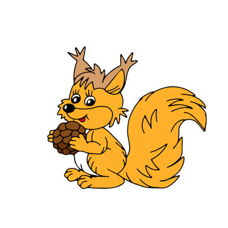 A Hand drawn orange vector illustration of a beautiful adult young squirrel with a big cone and a long fluffy tail isolated on a white background