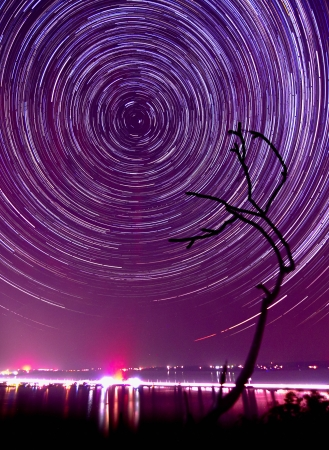 Deep magenta sky sunset and star tails