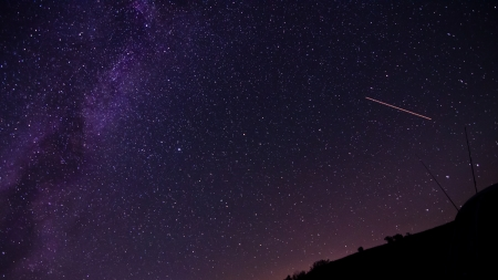 Perseid- meteorite on the Milky Way and starry sky Stock Photo