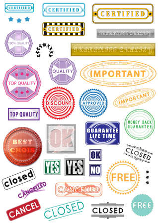 Rubber stamps, stickers, labels, signs and symbols photo