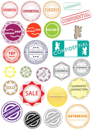 New rubber stamps, stickers, labels, signs and symbols  Stock Photo - 9237708