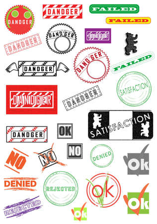 Rubber stamps, stickers, labels, signs and symbols Stock Photo - 9237656