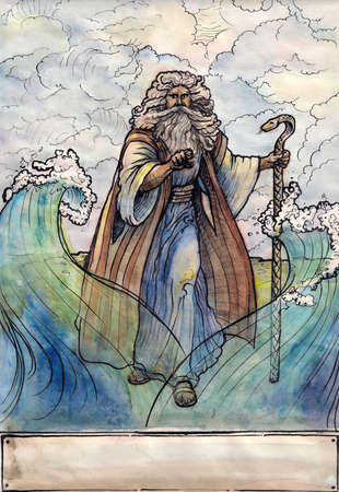 Moses before waters of Red sea. Graphic arts, watercolor, paper, ink photo