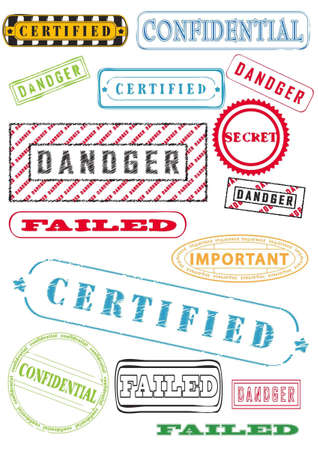Rubber stamps, stickers, labels, signs and symbols clipart Vector
