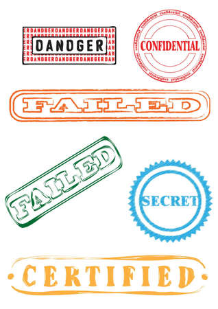 certified stamp: New rubber stamps, stickers, labels, signs and symbols collection